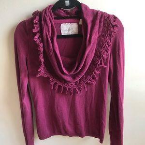 anthro fringe cowl neck sweater